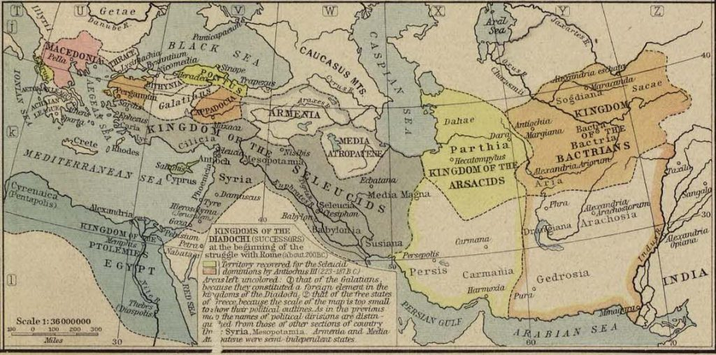 Map of Successors of Alexander ca. 200 BC Best for the Lives of the Romans rather than the Greeks since this is about the time that Rome bursts into the Eastern Mediterranean in the Lives of men like Cato the Elder.