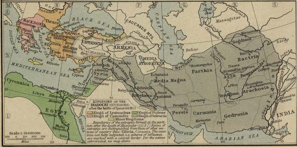 Best map for the immediate successors of Alexander the Great, after the dust has more or less settled from the first round of blood wars.