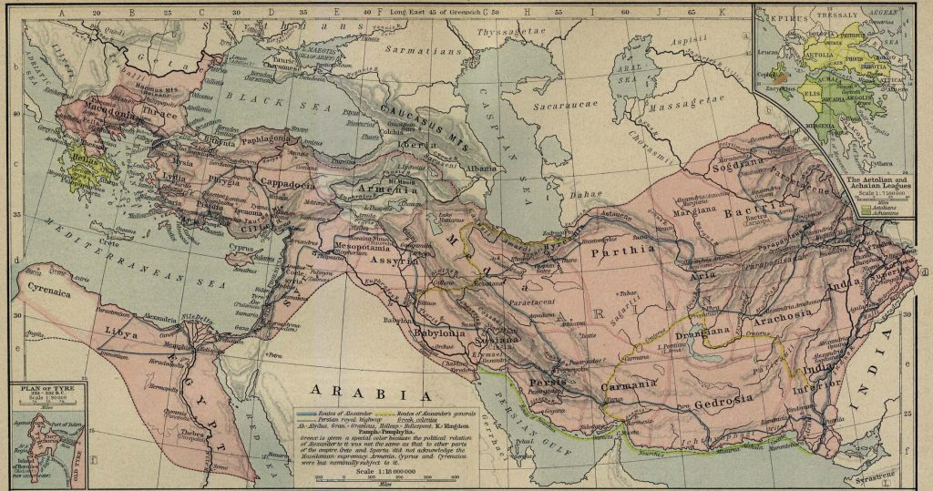 Best Map for all of Alexander's Conquests in one place, includes plan of siege of Tyre and an inset detailing the Aetolian League and the Aechean League.