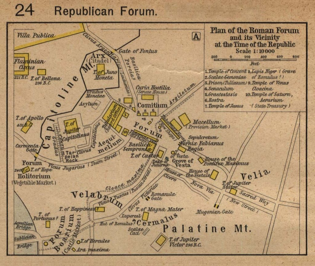 Map of the forum in the time of the Republic: best reference for the Lives of Romulus, Numa, Publicola, Coriolanus, Camillus, and Cicero.